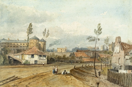 Millbank Penitentiary from Vauxhall Bridge Road: 19th century