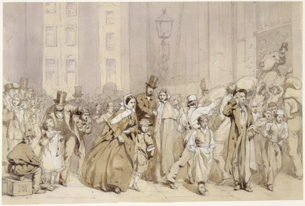 A study for 'The General Post Office, One minute to Six': 19th century