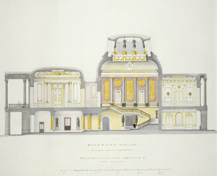 Stafford House, Saint James's, London - section through the centre of the house: 19th century