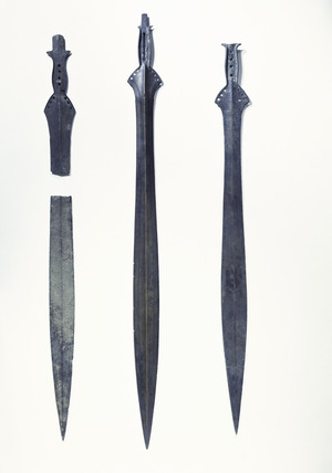 Three late bronze-age leaf-shaped swords