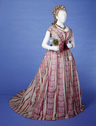 Silk bustle dress: 19th century
