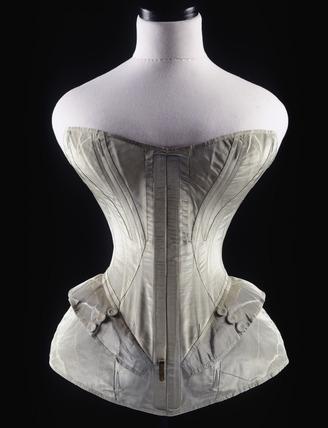 Blue silk corset: 1851