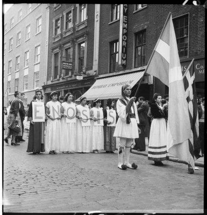 Greek-Cypriots march through Soho: 1954
