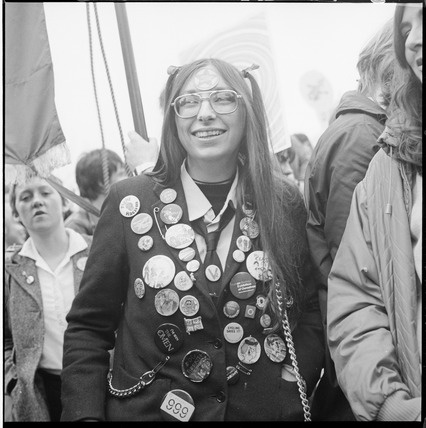 A woman participates in an anti-Nazi rally: 1978