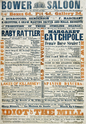 Playbill for the Bower Saloon: 1854