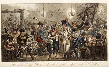 Tom and Jerry 'masquerading it' among the lodgers of the back slums: 1821