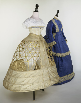 Wedding dress ensemble with underskirt and corset 19th for 19th century wedding dresses