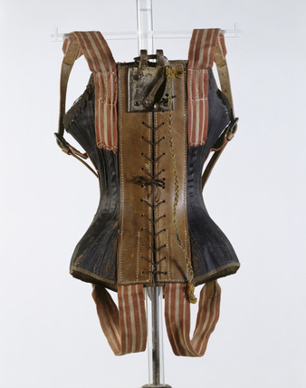 Acrobatic flying corset, back view: 19th century