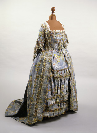Silk and linen dress, front view: 18th century