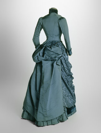 Bustle dress ensemble, back view: 19th century