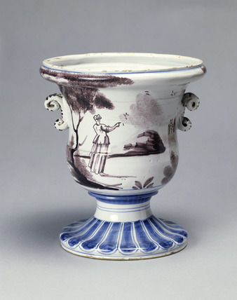 Tin-glazed earthenware vase: 16th-18th century