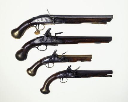 Four flintlock pistols: 18th century