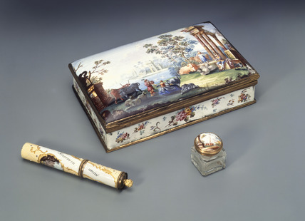 Enamelled writing box and bodkin case: 18th century