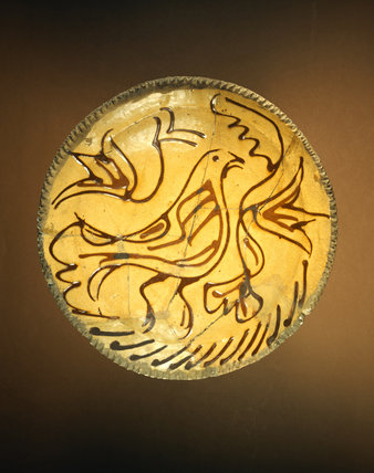 Staffordshire-type slipware plate: 17th Century