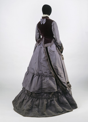 Dress ensemble, back view: 19th century