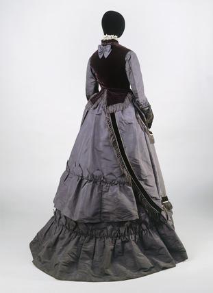 Dress ensemble, back view: 19th century