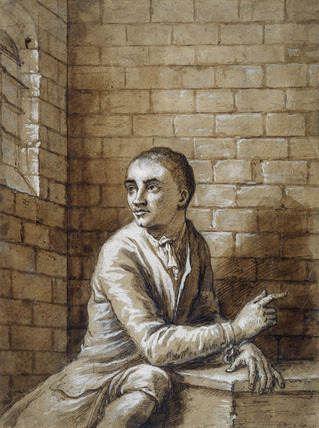 Jack Sheppard seated in his cell, Newgate: 1724