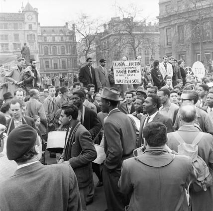 Anti-nuclear protestors gather in Trafalgar Square: 1959