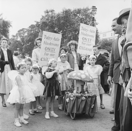 Supporters gathered for a 'March for Life' rally: 1957