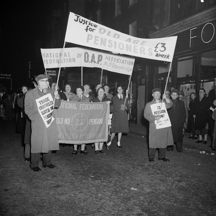 Protestors support the National Federation of Old Age Pensions Association: 20th century