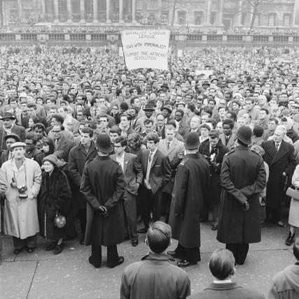 An anti-apartheid demonstration in Trafalgar Square: