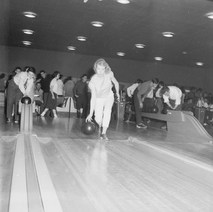 A ten-pin bowling alley in London: 1960