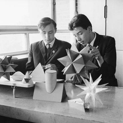 Schoolboys in a technical drawing lesson: 1966