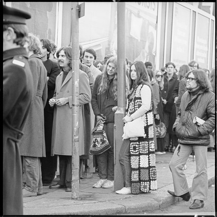 Queueing outside the Roundhouse in Chalk Farm: 1971