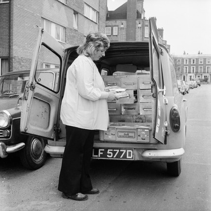 Delivering meals-on-wheels: 1973