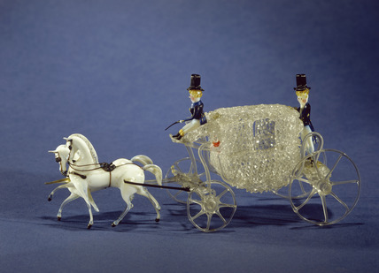 Miniature glass coach drawn by two horses: 1851