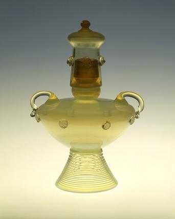Staw opal lidded vase: 1878