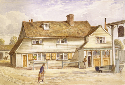 Exterior view of the King's Head Inn: 1870
