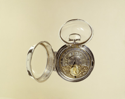 Silver commemorative pair-case watch: 1697