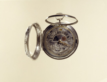 Silver pair-case verge watch with sun/moon indication and calendar: 18th century