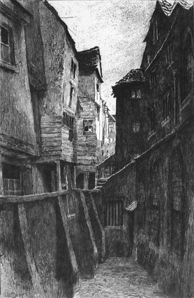 Back alley, Cloth Fair: 19th century