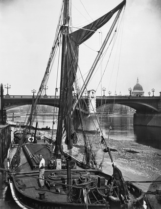River barge and Southwark Bridge: 20th century