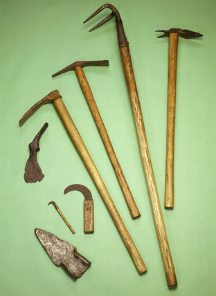 Selection of Roman farm tools with modern handles