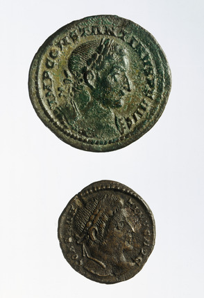 Obverse of two Roman coins of radiate bust of Constantine I