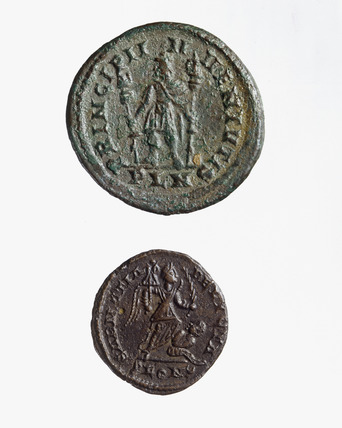 Reverse of two Roman Laureate coins of Constantine I