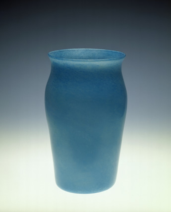 Vase in blue cloudy glass: 20th century