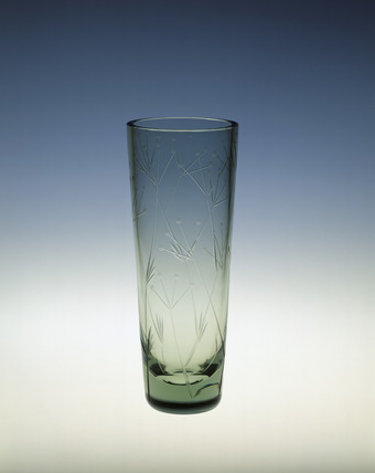 Vase in Ocean Green glass with botanical motif: 1959