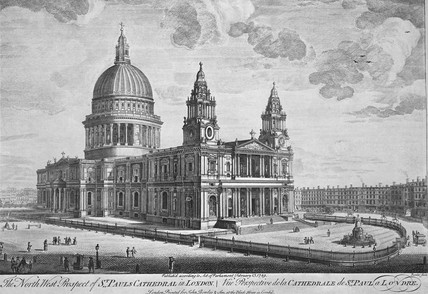 The North West Prospect of St Paul's Cathedral in London: 1749