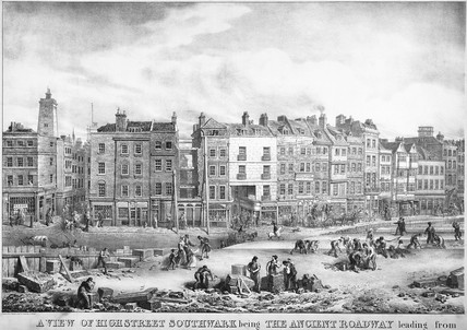 A View of the High Street, Southwark: 1830