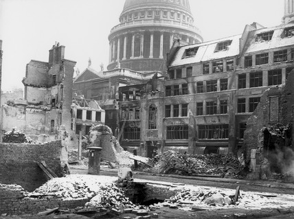 Bomb damage at Paternoster Square, London: 1940