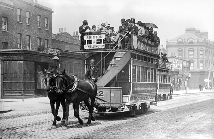 A horse drawn tram: 19th century