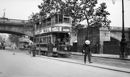 A tram on Victoria Embankment: 20th century
