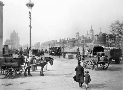 Street scene with tower of London in the distance: 20th century