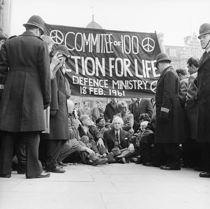 Bertrand Russell at the anti-Polaris protest, Whitehall: 1961