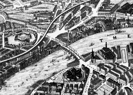 A detail from a balloon view of London: 1851