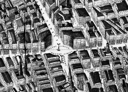 Detail from a balloon view of London: 1851